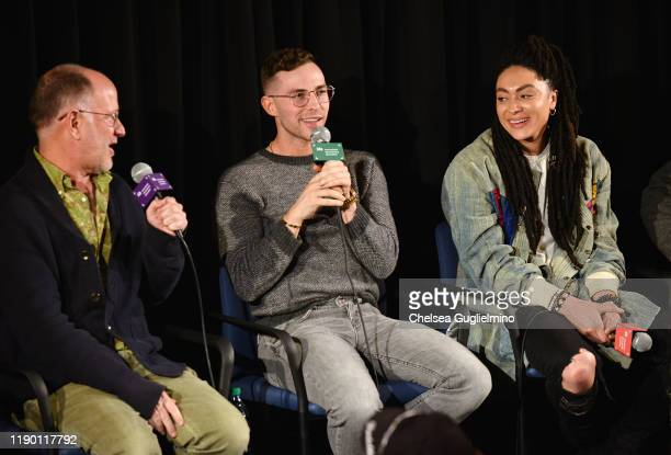 Filmmaker Randy Barbato figure skater Adam Rippon and actor Amber Whittington attend the Los Angeles special screening of Stonewall Outloud at The...