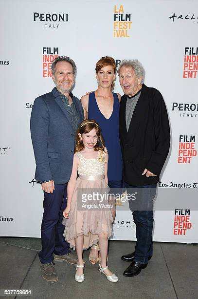 Filmmaker Remy Auberjonois actress Sunde Auberjonois actress/writer Kate Nowlin and actor Rene Auberjonois attend the premiere of 'Blood Stripe'...