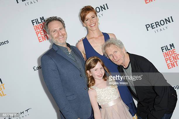 Filmmaker Remy Auberjonois actress/writer Kate Nowlin and actress Sunde Auberjonois and actor Rene Auberjonois attend the premiere of 'Blood Stripe'...