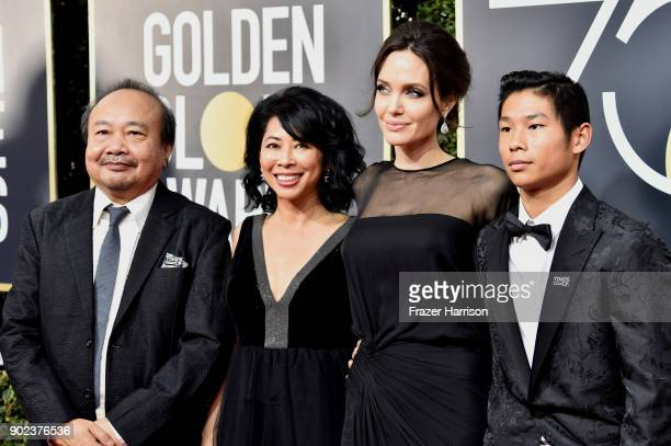 Filmmaker Rithy Panh activist Loung Ung actor director Angelina Jolie and Pax Thien JoliePitt attends The 75th Annual Golden Globe Awards at The...