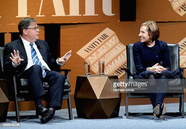Filmmaker Robert King and Filmmaker Michelle King speak onstage during The Golden Age of Drama at the Vanity Fair New Establishment Summit at Yerba...