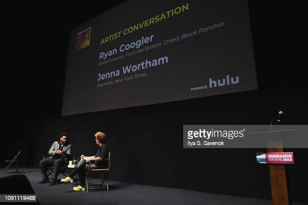 Filmmaker Ryan Coogler and Jenna Wortham speak onstage during the Talent Forum Keynote With Ryan Coogler during the 2019 Sundance Film Festival at...