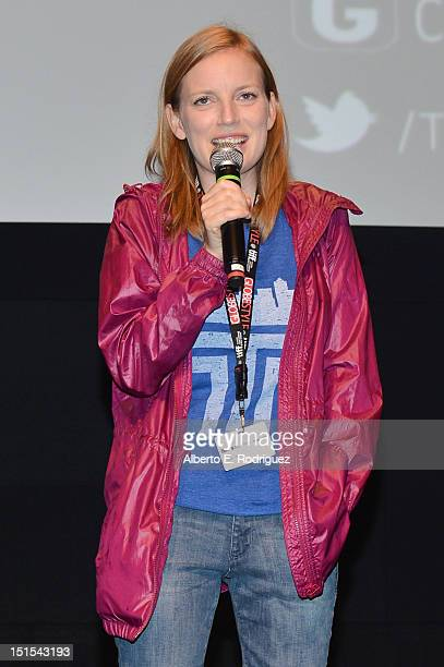 Filmmaker Sarah Polley speaks at 'Stories We Tell' premiere during the 2012 Toronto International Film Festival on September 8 2012 in Toronto Canada