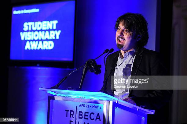 Filmmaker Scandar Copti speaks onstage at the Awards Night Show Party during the 2010 Tribeca Film Festival at the W New York Union Square on April...