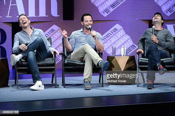 Filmmaker Scott Aukerman actors Nick Kroll and Kumail Nanjiani speak onstage during How to Earn Thousands Making Comedy at the Vanity Fair New...