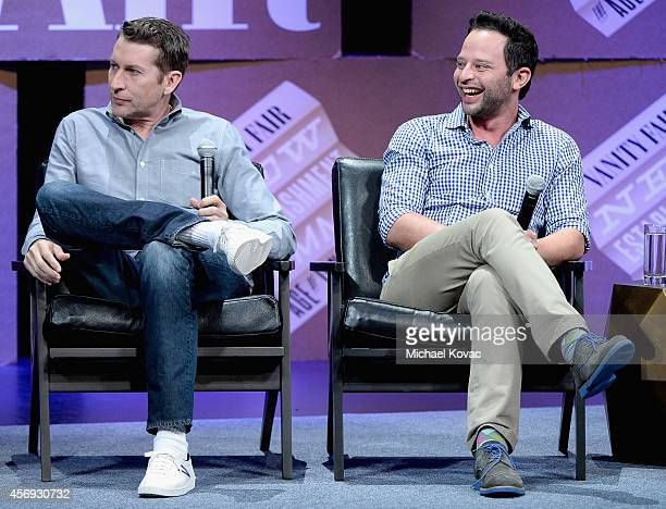Filmmaker Scott Aukerman and actor Nick Kroll speak onstage during How to Earn Thousands Making Comedy at the Vanity Fair New Establishment Summit at...