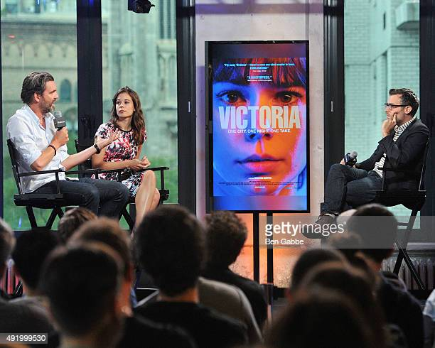 Filmmaker Sebastian Schipper actress Laia Costa and moderator Ricky Camilleri attend AOL Build presents Victoria at AOL Studios In New York on...