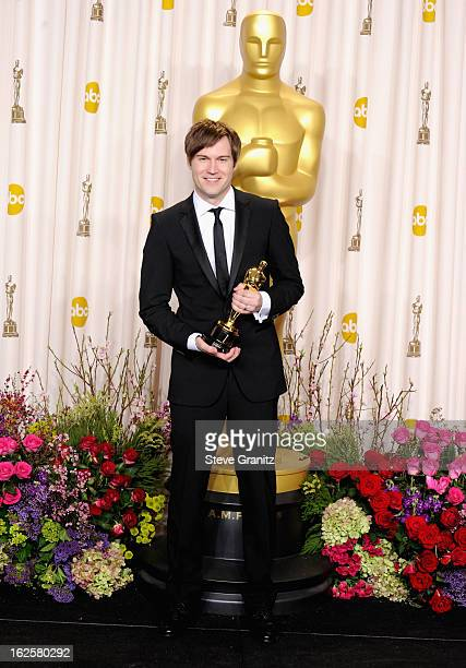 Filmmaker Shawn Christensen poses in the press room during the Oscars at the Loews Hollywood Hotel on February 24, 2013 in Hollywood, California.