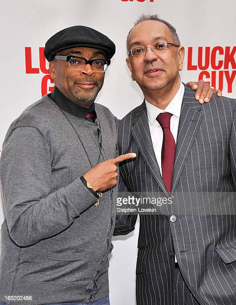 Filmmaker Spike Lee and director George C Wolfe attend the Lucky Guy Broadway Opening Night at The Broadhurst Theatre on April 1 2013 in New York City