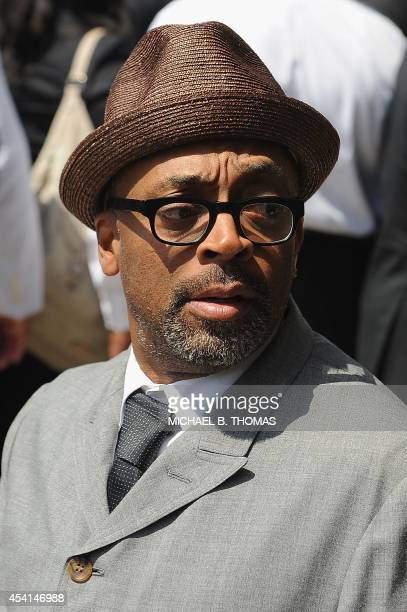 Filmmaker Spike Lee arrives at the funeral for slain 18year old Michael Brown Jr at Friendly Temple Missionary Baptist Church in St Louis Missouri on...