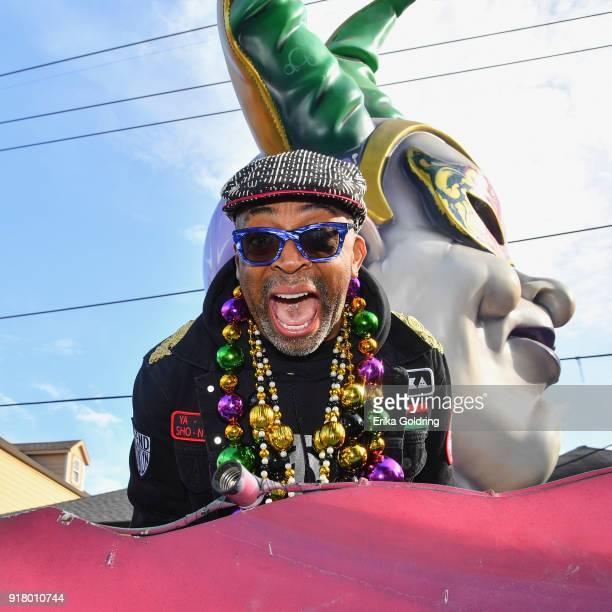 Filmmaker Spike Lee is Grand Marshal of the Zulu Social Aid Pleasure Club's 2018 Zulu Parade on February 13 2018 in New Orleans Louisiana