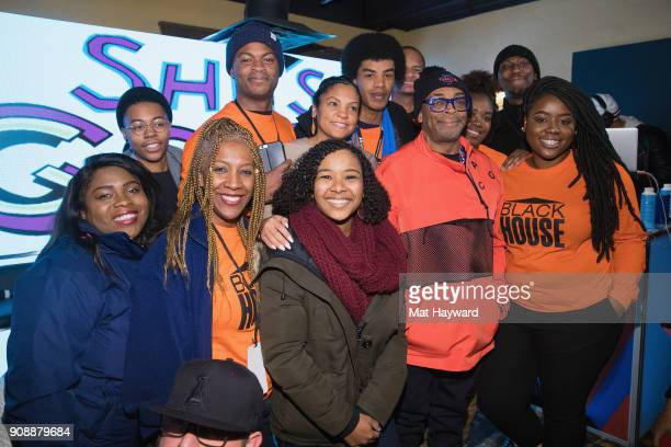 Filmmaker Spike Lee poses for a photo with the Blackhouse team during the 'She's Gotta Have It' brunch sponsored by Netflix at Buona Vita on January...