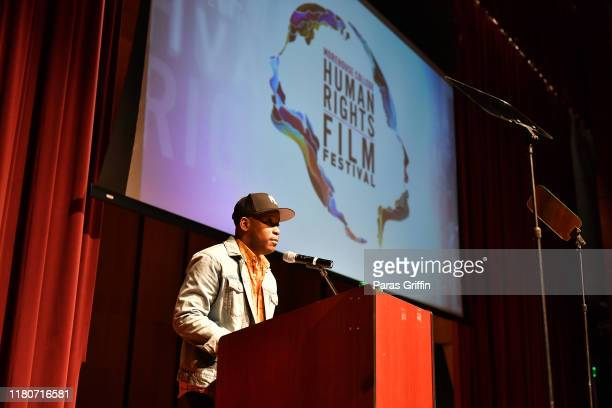 Filmmaker Stefon Bristol speaks onstage during 1st Annual Morehouse College Human Rights Film Festival Awards Ceremony at Ray Charles Performing Arts...