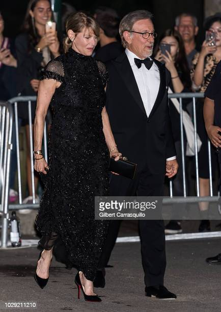 Filmmaker Steven Spielberg and wife actress Kate Capshaw are seen arriving at the Ralph Lauren 50th Anniversary event during New York Fashion Week at...