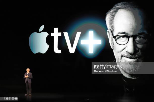 Filmmaker Steven Spielberg speaks during an Apple product launch event at the Steve Jobs Theater at Apple Park on March 25 2019 in Cupertino...