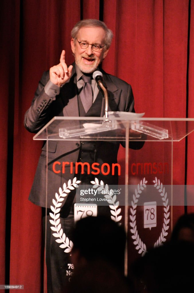Filmmaker Steven Spielberg speaks onstage at the 2012 New York Film Critics Circle Awards at Crimson on January 7, 2013 in New York City.
