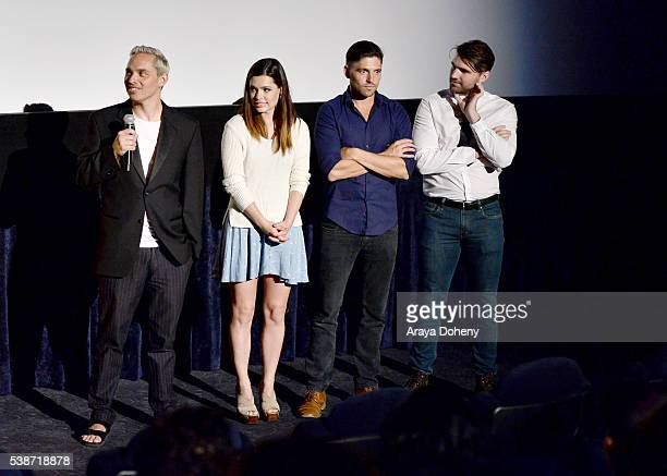 Filmmaker Tony E Valenzuela actress Alex Frnka actor Robert Adamson and actor Jarrett Sleeper speak at the premiere of 'Villisca' during the 2016 Los...