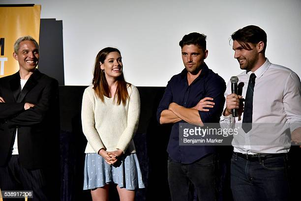 Filmmaker Tony E Valenzuela actress Alex Frnka actor Robert Adamson and actor Jarrett Sleeper speak onstage at the premiere of 'Villisca' during the...
