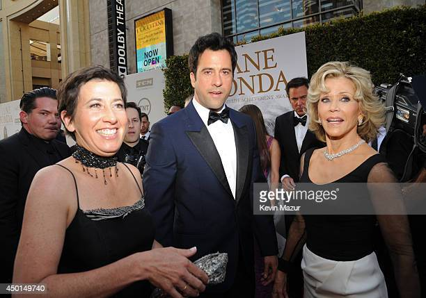 Filmmaker Vanessa Vadim actor Troy Garity and honoree Jane Fonda attend the 2014 AFI Life Achievement Award A Tribute to Jane Fonda at the Dolby...