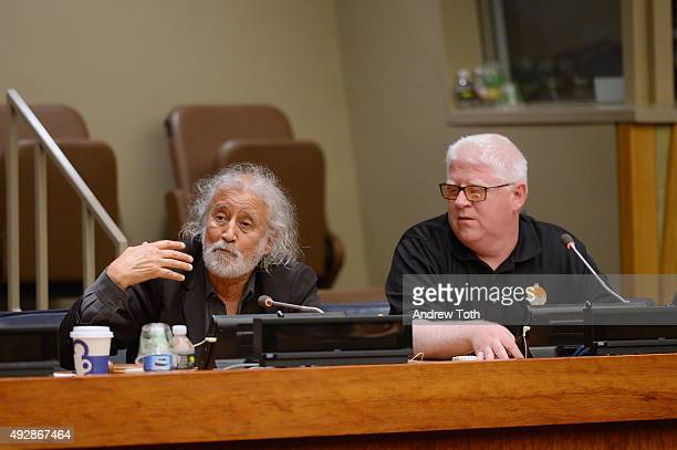 Filmmaker Vic Sarin and Founder/CEO of Under the Same Sun Peter Ash speak at the QA during The Boy from Geita film premiere at The United Nations...
