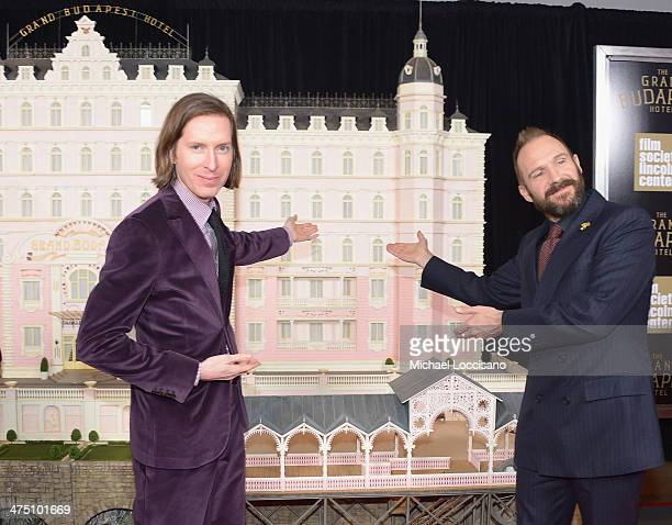 Filmmaker Wes Anderson and actor Ralph Fiennes attend the The Grand Budapest Hotel New York Premiere at Alice Tully Hall on February 26 2014 in New...