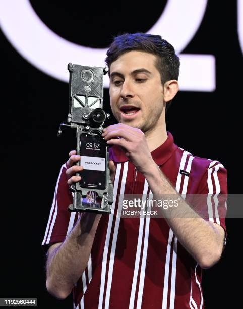 Filmmaker Zach Wechter displays the camera set up he used to film content for Quibi shortform video streaming service during the keynote address...