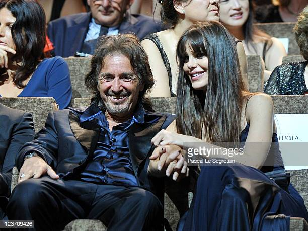 Filmmaker/actor Al Pacino and Lucila Sola attend the 'Wild Salome' premiere during the 68th Venice Film Festival at Palazzo del Cinema on September 4...