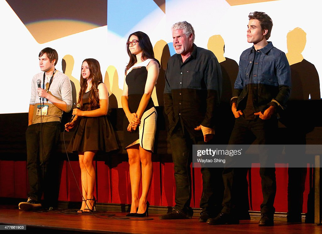 Filmmaker/actor Shawn Christensen and actors Fatima Ptacek, Emmy Rossum, Ron Perlman and Paul Wesley speak onstage at the 'Before I Disappear' Photo Op and Q&A during the 2014 SXSW Music, Film + Interactive Festival at Alamo Ritz on March 10, 2014 in Austin, Texas.