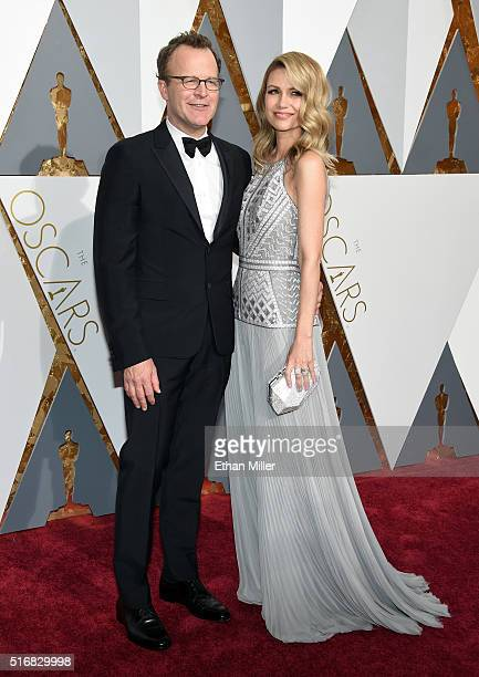 Filmmaker/actor Tom McCarthy and Wendy Merry McCarthy attend the 88th Annual Academy Awards at Hollywood Highland Center on February 28 2016 in...