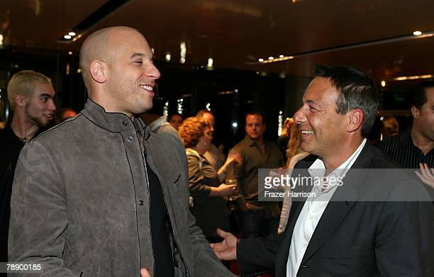 """Filmmaker/actor Vin Diesel and Co-chair of First Look holdings Henry Winterstern attend Vin Diesel's DVD release party for the film """"Strays"""" held at..."""
