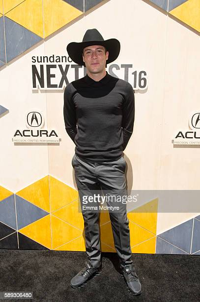 Filmmaker/photographer Luke Gilford arrives at the Sundance Next Fest premiere of 'Morris From America' at The Theatre At The Ace Hotel on August 13...