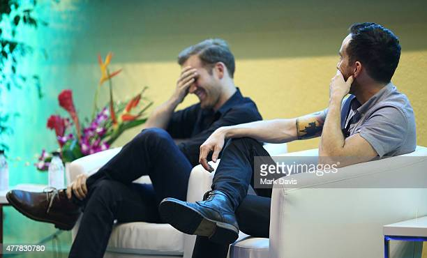 Filmmakers Aaron Moorhead and Justin Benson speak to the audience at the 2015 Palm Springs International Shortfest on June 19 2015 in Palm Springs...