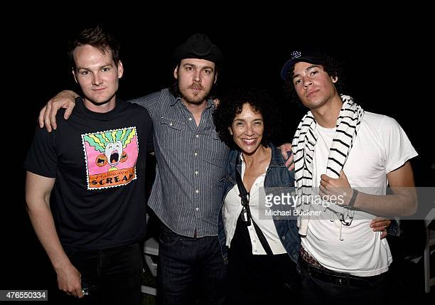 Filmmakers Aaron Nee Adam Nee Stephanie Allain and Jesse AllainMarcus attend the 2015 Los Angeles Film Festival Filmmaker Retreat at the Parker Palm...
