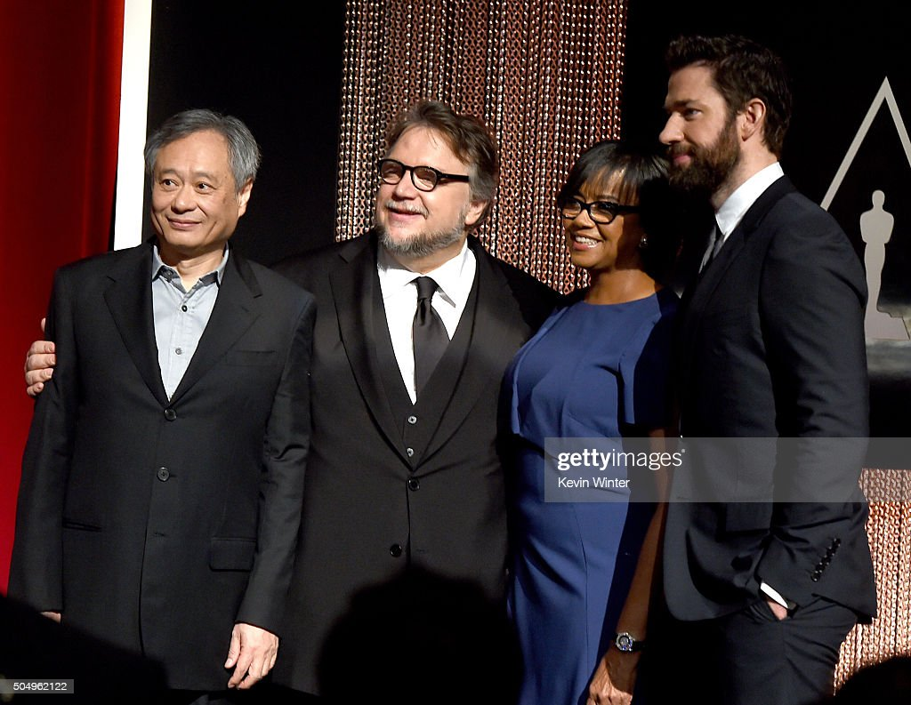 Filmmakers Ang Lee and Guillermo del Toro, President of the Academy of Motion Picture Arts and Sciences Cheryl Boone Isaacs and actor John Krasinski pose onstage during the 88th Oscars Nominations Announcement at the Academy of Motion Picture Arts and Sciences on January 14, 2016 in Los Angeles, California.