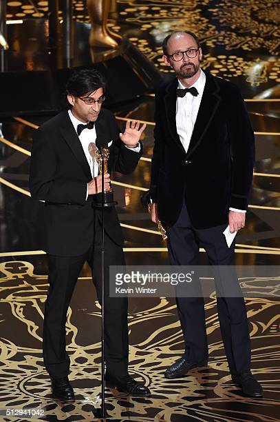 Filmmakers Asif Kapadia and James Gay-Rees accept the Best Documentary Feature award for 'Amy' onstage during the 88th Annual Academy Awards at the...
