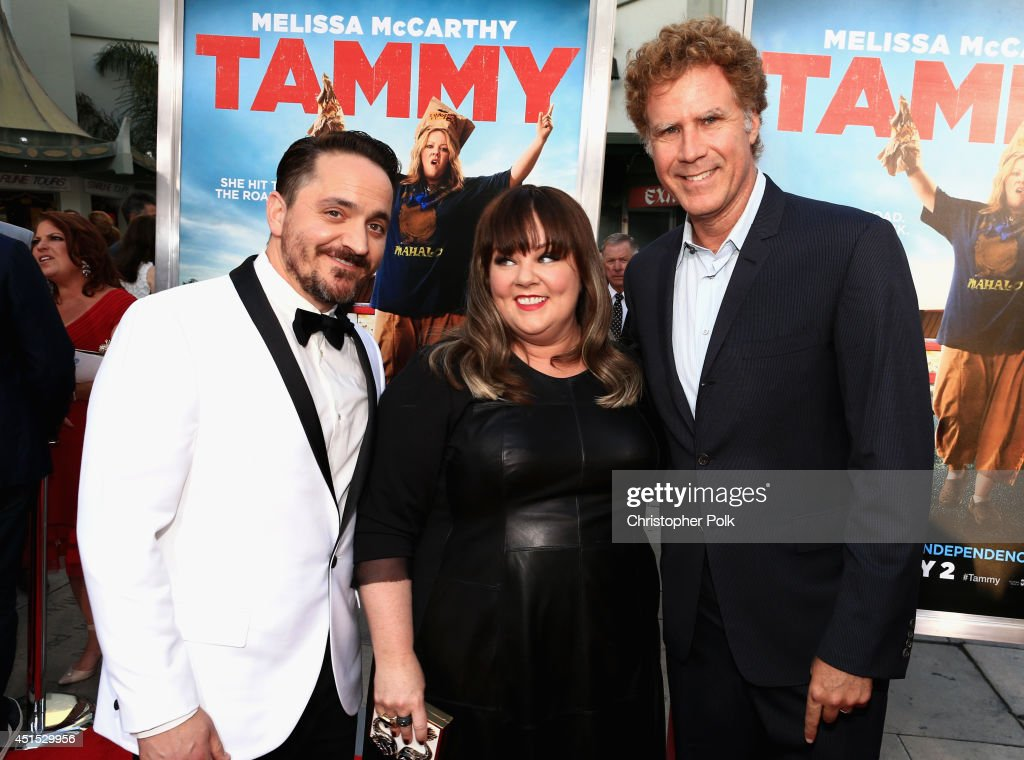 Filmmakers Ben Falcone, Melissa McCarthy and producer Will Ferrell attend the 'Tammy' Los Angeles premiere at TCL Chinese Theatre on June 30, 2014 in Hollywood, California.