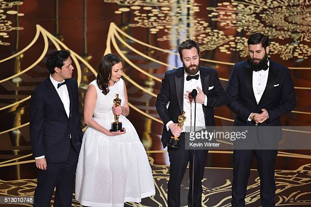 Filmmakers Benjamin Cleary and Serena Armitage and crew accept the Best Live Action Short Film award for 'Stutterer' onstage during the 88th Annual...