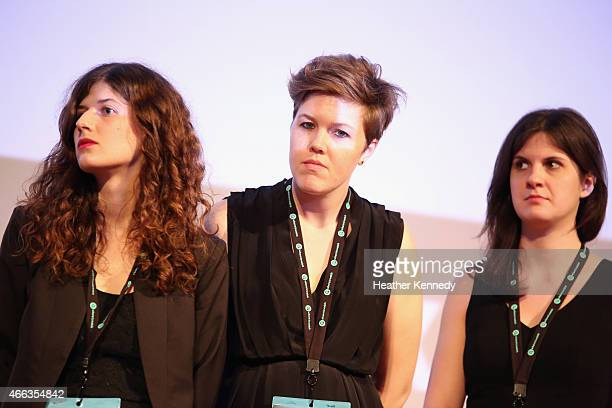 Filmmakers Cara Mones Alexis Johnson and Erin Barnett attend the premiere of 'Steve Jobs The Man in the Machine' during the 2015 SXSW Music Film...