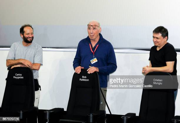 Filmmakers Carlos Reygadas Bob Rafelson and Cristian Mangiu pose with their de movie theater during a press conference as part of the XV Morelia...