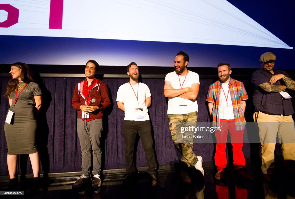 Filmmakers Claire Marie Vogel, Carlos Lopez Estrada, Devon Gibbs, Tomas Whitmore, Brandon Ray and Pat Kondelis speak onstage at Eclectic Mix 1 during the 2014 Los Angeles Film Festival at Regal Cinemas L.A. Live on June 13, 2014 in Los Angeles, California.
