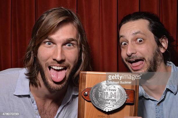 Filmmakers Cooper Roberts and Ian Schwartz pose with their award for Music Video during the 2014 SXSW Film Awards at the Paramount Theatre on March...
