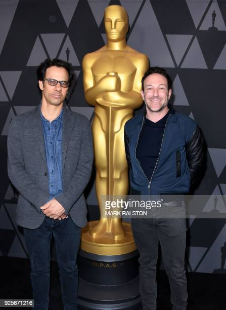 Filmmakers Dan Cogan and Bryan Fogel who directed 'Icarus' arrive at the reception for Oscarnominated films in the Documentary Short and Feature...