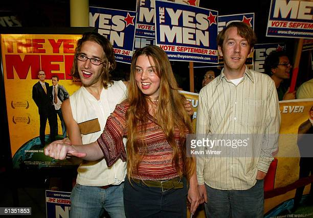 Filmmakers Dan Ollman Sarah Price and Chris Smith arrive to the premiere of United Artists' film The Yes Men on the opening night of the Silver Lake...