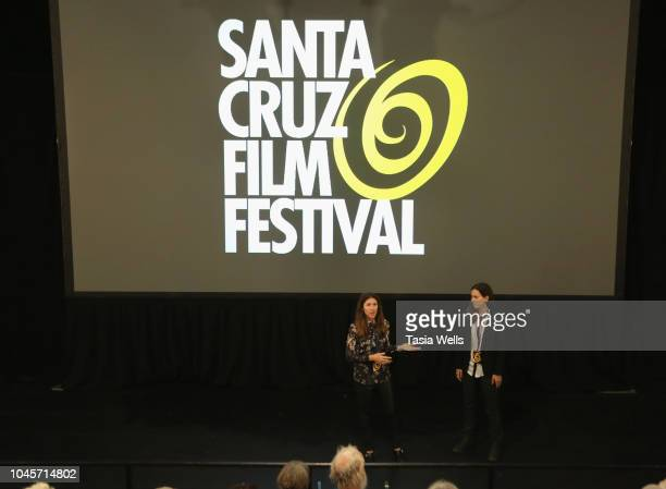 Filmmakers Dana Richardson and Sarah Zentz speak onstage at the 2018 Santa Cruz Film Festival on October 4 2018 in Santa Cruz California