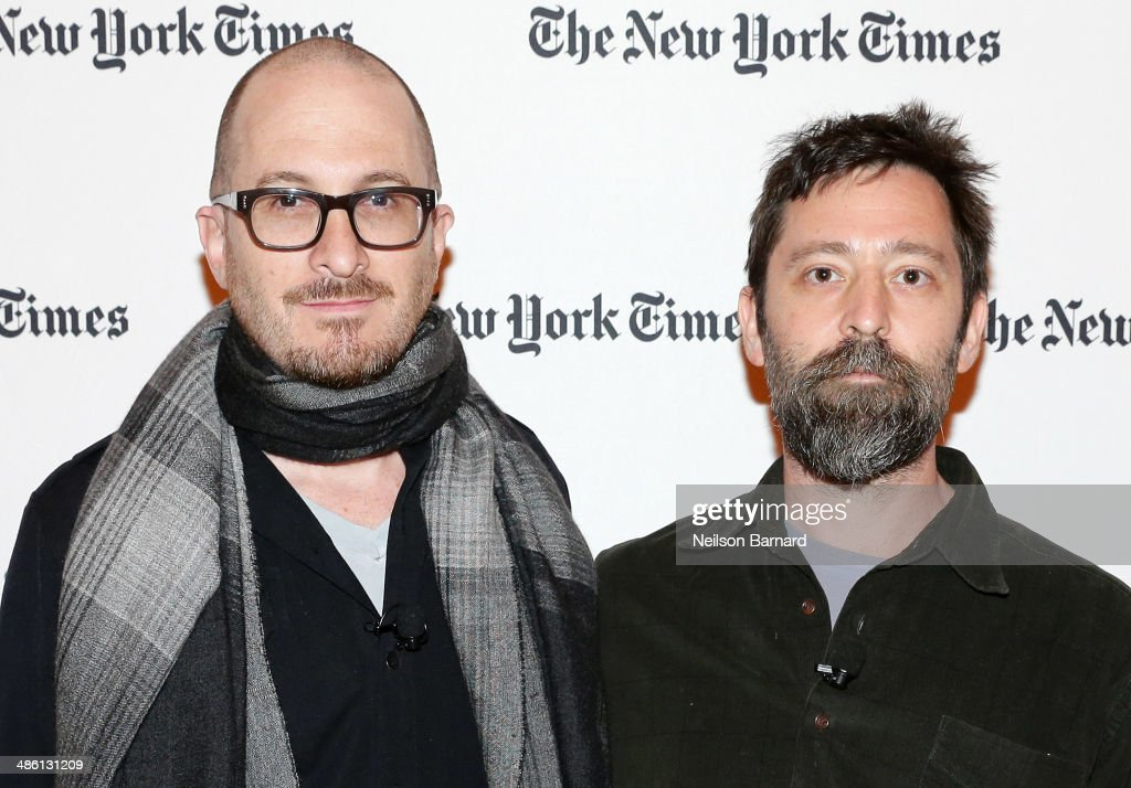 Filmmakers Darren Aronofsky (L) and Ari Handel attend the New York Times Cities for Tomorrow Conference on April 22, 2014 in New York City.