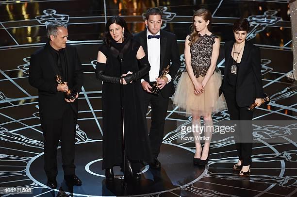 Filmmakers Dirk Wilutzky Laura Poitras journalist Glenn Greenwald Lindsay Mills and filmmaker Mathilde Bonnefoy accept Best Documentary Feature for...