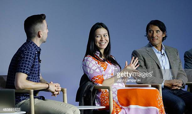 "Filmmakers Elizabeth Chai Vasarhelyi and Jimmy Chin attend ""Meru"" discussion at the Apple Store Soho on August 13, 2015 in New York City."