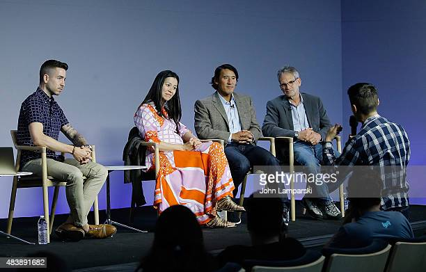 "Filmmakers Elizabeth Chai Vasarhelyi, Jimmy Chin and author Jon Krakauer attend ""Meru"" discussion at the Apple Store Soho on August 13, 2015 in New..."