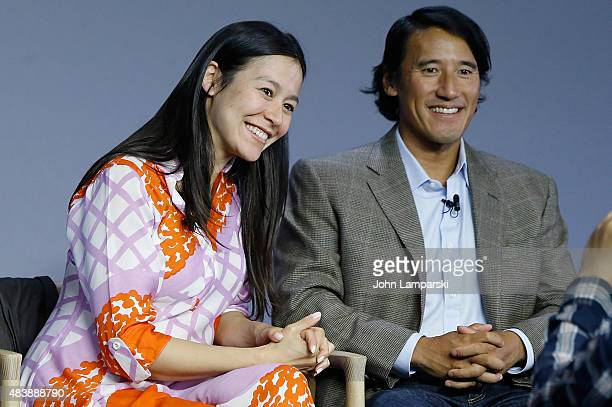 "Filmmakers Elizabeth Chai Vasarhelyi Jimmy Chin attend ""Meru"" discussion at the Apple Store Soho on August 13, 2015 in New York City."