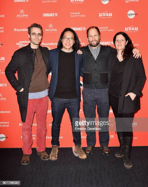Filmmakers Eric Daniel Metzgar Stephen Maing Ross Tuttle and Laura Poitras attend the 'Crime And Punishment' Premiere during the 2018 Sundance Film...